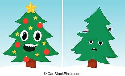dos, árboles de navidad, uno, feliz, uno, triste, después,...
