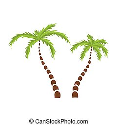 dos, árboles de palma, vector