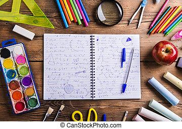 dos, école, composition