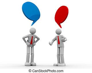 dos, 3d, empresarios, posición, y, hablar, con, discurso, burbujas, blanco, plano de fondo
