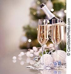 dos, año, nuevo, champaña, celebration., anteojos