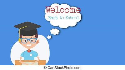 dos, accueil, remise de diplomes, texte, école, chapeau, ...