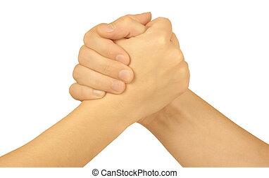 dos, acoplado, manos