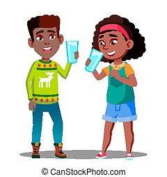 dos, afro estadounidense, niños, bebida, orgánico, leche, de, un, vidrio, vector., aislado, ilustración