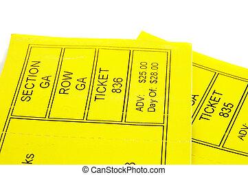 dos, amarillo, boleto, stubs, primer plano, blanco