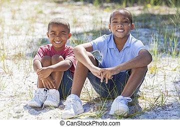 dos, americano africano, niños