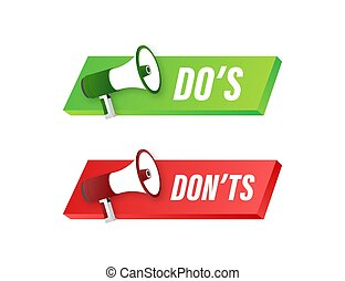 Dos and Donts like thumbs up or down. flat simple thumb up ...