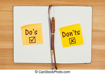 Do's and Don'ts on two sticky notes in a journal with a pen