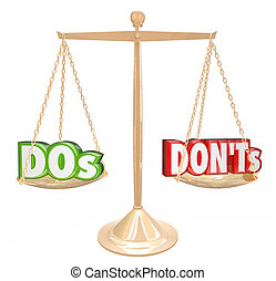 Dos and Donts Words Gold Scale Good Bad Advice - Dos and...