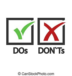 DOs and DONTs yes and no vector sign. Illustration of ...