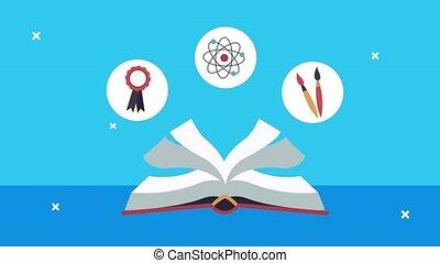 dos, animation, fournitures, école, manuel