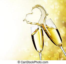 dos, anteojos de champán, con, resumen, corazón, salpicadura