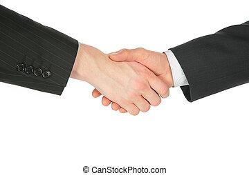 dos, apretón de manos, manos