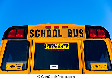 dos, autobus, école, sommet, moitié