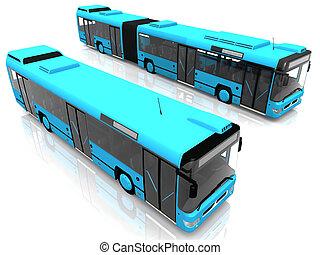 dos, azul, ciudad, autobuses
