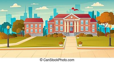 dos, bâtiment, école, exterior., moderne