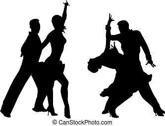 dos, bailando, parejas