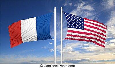 dos, banderas, contra, de, cielo nublado