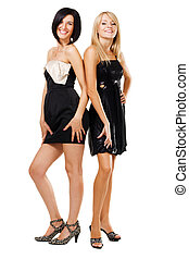 dos, bastante, mujeres, en, negro, vestidos