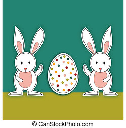 dos, bebé, conejitos de pascua, con, huevo