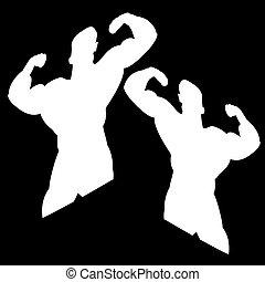 dos, blanco, siluetas, de, un, macho, bodybuilder., en, un, negro, fondo.