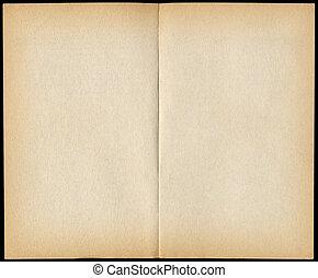 dos, blanco, vendimia, libro de bolsillo, páginas, aislado, en, black.