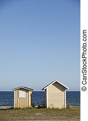dos, boathouses, en, el, litoral
