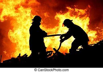 dos, bomberos, y, llamas