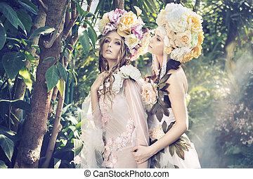 dos, bosque, ninfas, weraing, imaginación, sombreros
