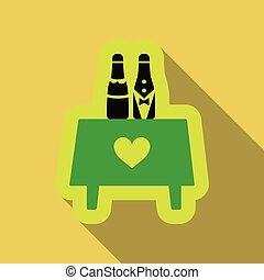 dos, botella de champán, con, corazones, sobre la mesa