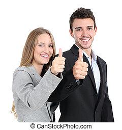 dos, businesspeople, convenir, con, pulgar up