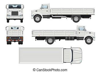 dos, côté, marquer, devant, mockup, vecteur, vue, sommet, véhicule, template., camion