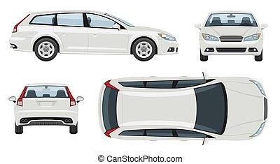 dos, côté, marquer, devant, voiture, mockup, vecteur, blanc, vue, sommet, véhicule, template.