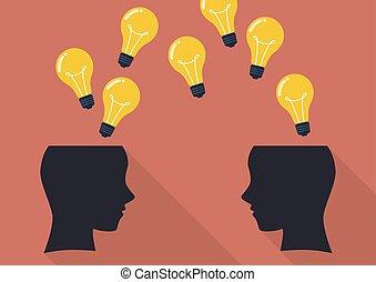 dos, cabeza humana, pensamiento, un, nuevo, idea.