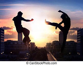 dos, capoeira, luchadores, encima, ciudad, plano de fondo