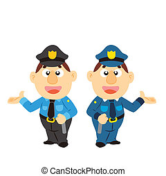 dos, caricatura, colores, divertido, policía