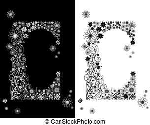 dos, cartas, de, floral, alfabeto, c