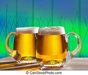 dos, cervezas, con, salto, campo