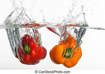 dos, claro, pimientas, es, pp de throw, en, limpio, water.