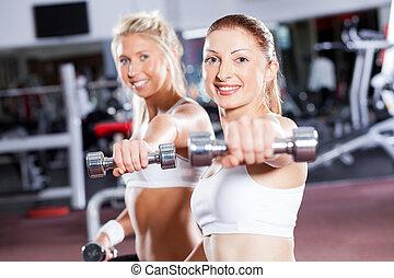 dos, condición física, mujer, hacer, dumbbell, entrenamiento