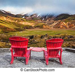 dos, conectado, salones, chaise, tabla, rojo