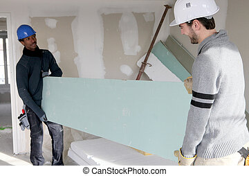 dos, constructores, proceso de llevar, cartón de yeso