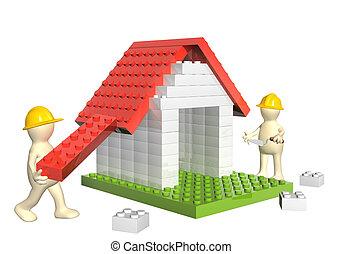 dos, constructores, y, casa, de, 3d, juguete plástico, bloques