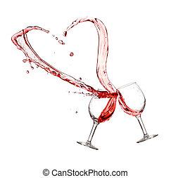 dos, copas de vino tinto, con, corazón, salpicadura