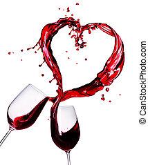 dos, copas de vino tinto, resumen, corazón, salpicadura