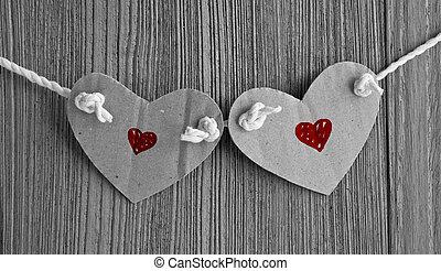 dos corazones, ahorcadura, un, thread.