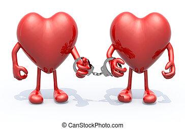 dos corazones, con, brazos y piernas, ligado, por, esposas, en, manos