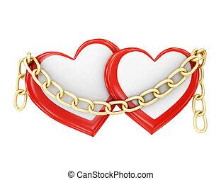 dos corazones, en, cadenas, en, un, blanco, fondo., 3d, interpretación