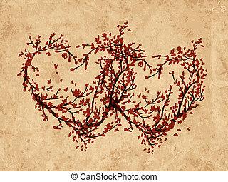 dos corazones, hecho, de, sakura, árbol