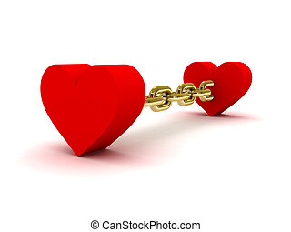 dos corazones, ligado, por, dorado, chain.
